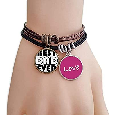 FerryLife Best Dad Ever Quote Father s Day Love Bracelet Leather Rope Wristband Couple Set Estimated Price £9.99 -