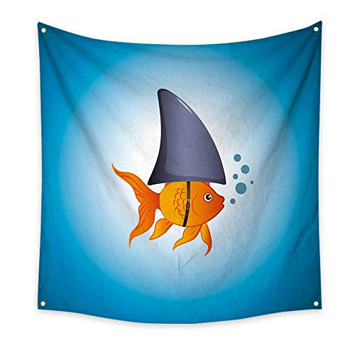 J Chief Sky Shark Bedroom Tapestry Little Goldfish Wearing A Shark Fin to Scare Predators Success Concept Tapestry Throwing Blanket 47W x 47L InchViolet Blue Grey Orange