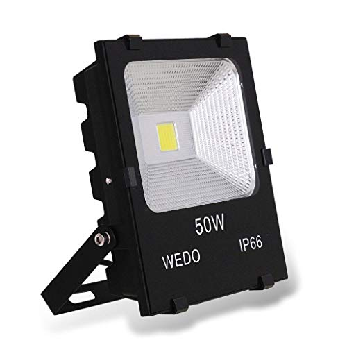 WEDO 50W Ultra Bright Outdoor LED Flood Light Scale-Like Reflector IP66 Waterproof Yard Garden Security Lights with US-3 Plug Daylight White, 6500K For Sale