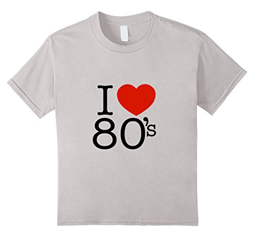 Kids I Heart Love The 80's T Shirt 1980's Clothing And Tee's 4 Silver