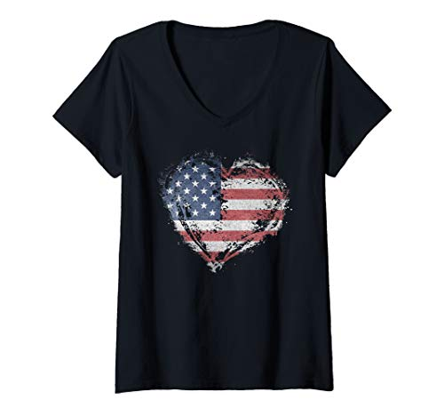 Womens Vintage USA Heart Shape American Flag Stylish Design V-Neck T-Shirt ()