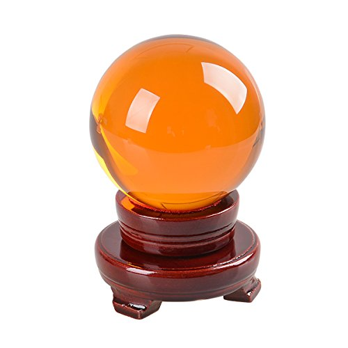 - LONGWIN 80mm (3.1 inch) Feng Shui Crystal Ball Sphere Contact Juggling Ball Free Wooden Stand(Amber)