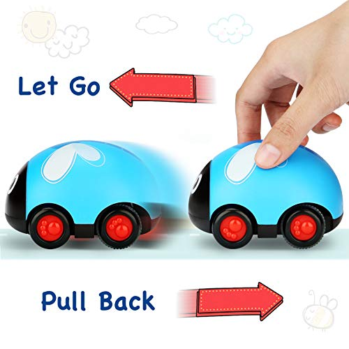 LiKee Animals Pull Back Cars Friction Powered Vehicle Playset Push and Go Back and Forth Car Toys Party Favors Stocking Fillers for Toddlers Kids Boys Girls Age 3+ Years Old (4 Packs)