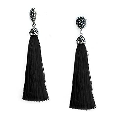 Cheap Thread Tassel Earrings Bohemian Statement Fringe Dangle Drop Earrings for Women Girls with Rhinestone Stud, Gifts for Mothers Day hot sale