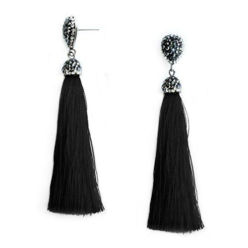 (Black Tassel Fringe Earrings for Women Girls Tassel Dangle Drop Statement Vintage Black Thread Silk Tassel Earrings Fashion Jewelry)
