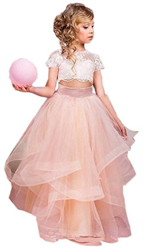 es Tulle Pink Flower Girl Dresses For Special Occasions Wedding Bridesmaid Gown ()
