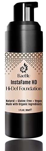 BaeBlu InstaFame HD Hi-Def Liquid Foundation, 100% Vegan, Gluten-Free and Made in USA with Natural and Organic Ingredients, ()