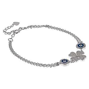AK Jewels 925 Silver Clover Leaf with Evil Eye Bracelet For Women