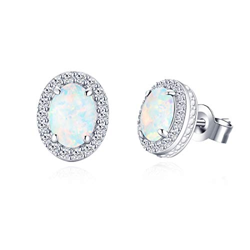 FANCIME 14K White Gold Plated 925 Sterling Silver CZ Cubic Zirconia/Created Opal Halo Danity Oval Stud Earrings Jewelry for Women Girls (White Gold Cz Leverback Earrings)