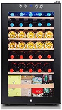 YFGQBCP 33 Botella termoeléctrica Rojo y Negro del refrigerador de Vino, un Funcionamiento silencioso termoeléctrica Vino Frigorífico Independiente Mostrador Bodega Frigorífico, Control Digital