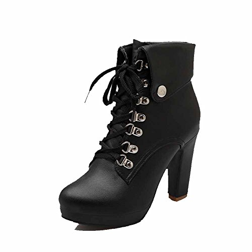 Toe Allhqfashion Round Pu Heels up Closed High Women's Boots Lace Solid Black qxAZwqzaC