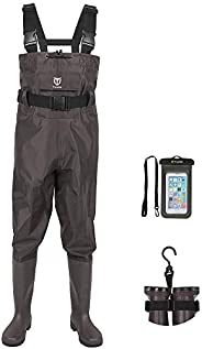 TideWe PVC Chest Wader Fishing Hunting Waders with Boot Hanger(Green and Brown)