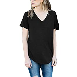 Amaryllis Apparel Women's Short Sleeve Loose Cut Relaxed T-Shirt Top