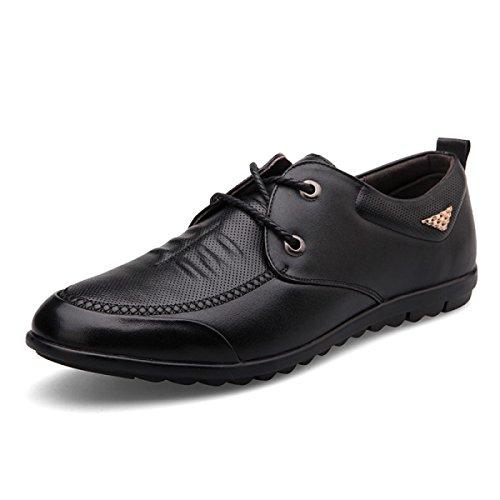 En Homme Cuir Cuir Brun Entreprise Loisirs Noir Black Pour GRRONG Véritable Chaussures De En 6wExYIq5