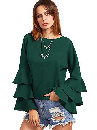 - SheIn Women's Round Neck Ruffle Long Sleeve Blouse Dark Green Medium