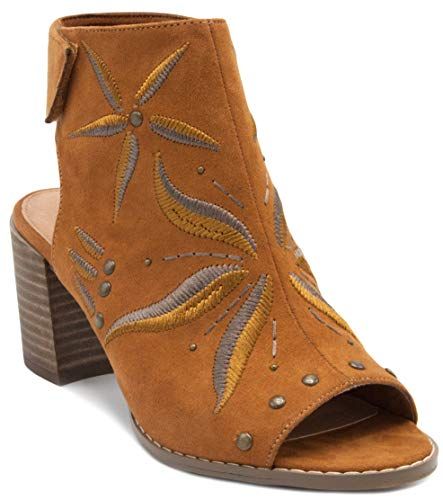 Sugar Women's Raine Slingback Peep Toe Ankle Boot Bootie with Flower EmbroideryTan 6 ()