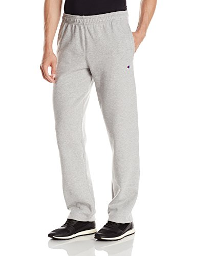 Cotton Fleece Oxfords - Champion Men's Powerblend Open Bottom Fleece Pant, Oxford Gray, L