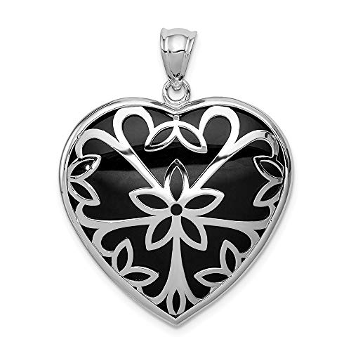 - 925 Sterling Silver Black Onyx Heart Pendant Charm Necklace Love Fine Jewelry Gifts For Women For Her