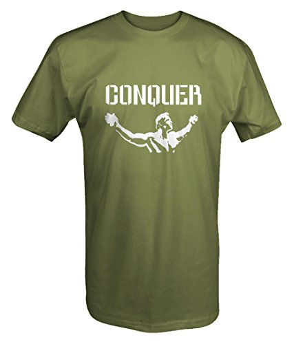 Arnold Quote Conquer Pose Gym Lifting Crossfit Workout T shirt -Medium
