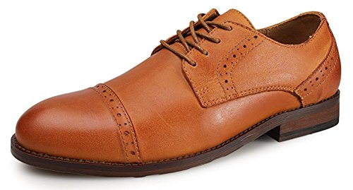 Kunsto Men's Leather Lined Cap-Toe Dress Oxfords Shoes US Size 10.5 Brown (Casual Cap Toe Shoes)