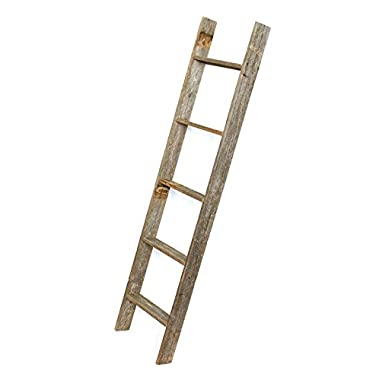 BarnwoodUSA Rustic 5 Foot Decorative Ladder - 100% Reclaimed Wood, Weathered Gray