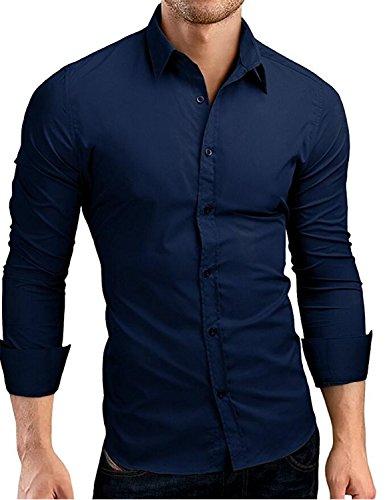 NeeKer Jacket Sleeve Shirts Casual Hit Color Slim Fit Solid Color Men Dress Shirts XXXL MA92 Navy Asia 3XL 185CM 85KG