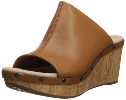 CLARKS Women's Annadel Molly Wedge Sandal, tan Leather, 090 M US