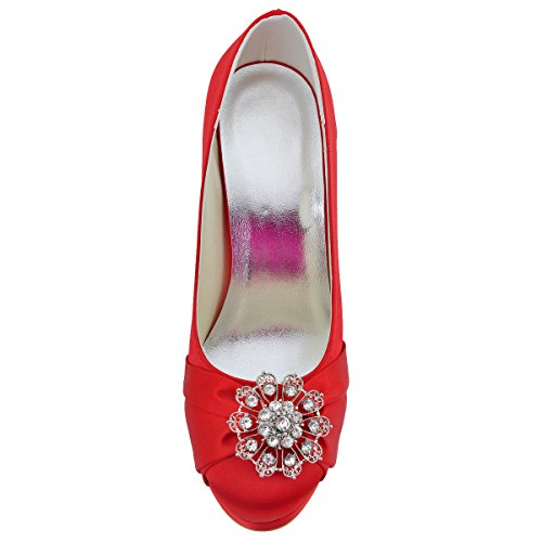 de Rojo Zapatos Vestir satén de Elegantpark Mujer rojo Rx8Hwtxq4