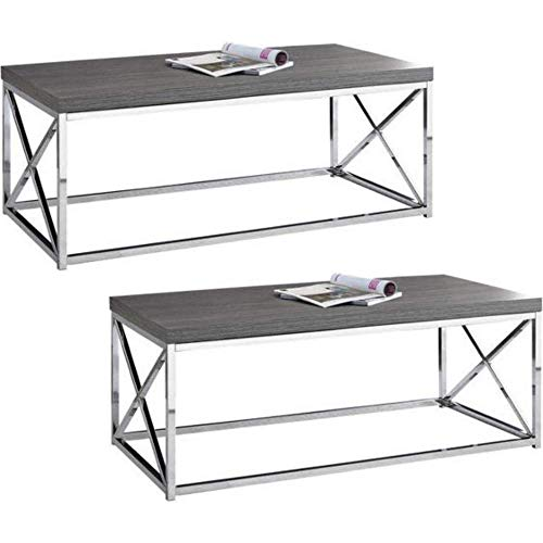 (Monarch Specialties I 3028, Cocktail Table, Chrome Metal Grey, Set of 2 + Free Unscented Candle)