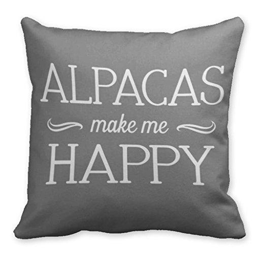Winlighting Alpacas Make Me Happy Alpacas Throw Pillow Cushion 18