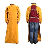 Leather Welding Apron, Welding Anti-Scalding Flameworkwear, Brown,D,XL