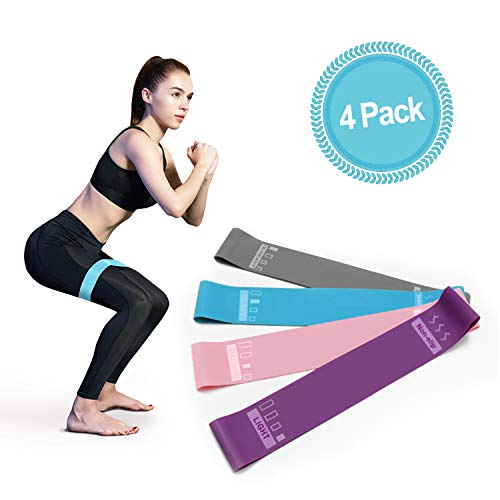 ucho Resistance Loop Bands| Set of 4 Levels Yoga Exercise Band for Strength Training, Physical Therapy, Fitness, Workout Body Shaping on Arms Legs Butt with Carrier Bag for Women Men (12