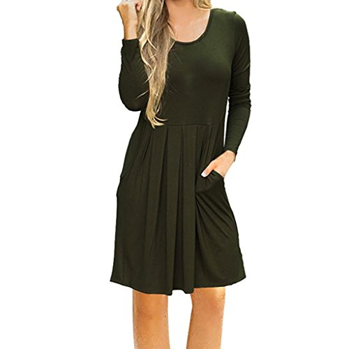 Lange Ärmel Plissee Tunika Frau Kleider Pocket Kleid Shirt T UqzLMVjSGp