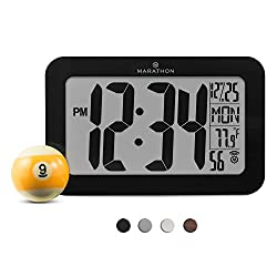 MARATHON CL030033BK Atomic Self-setting Self-adjusting Wall Clock w/ Stand & 8 timezones - Acrylic Glass - Batteries Included (Black)