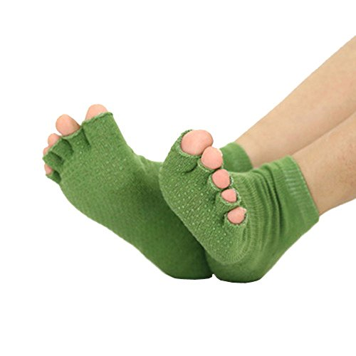 MochoHome Toeless Yoga/Pilates Socks with Grips, Small/Medium, Olive