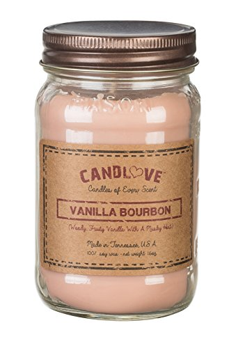CANDLOVE Vanilla Bourbon Scented 16oz Mason Jar Candle 100% Soy Made in The USA