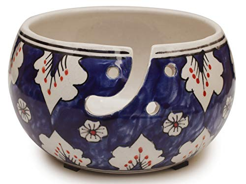 """2020 Deals - 7""""Ceramic Yarn Bowl for Knitting, Crochet for Moms - Beautiful Gift on All Occasions. A Perfect Gift for Moms and Grandmothers (Big Yarn_22)"""