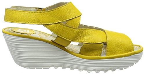 Fly London P500737004, Sandalias de Cuña Mujer Amarillo (lemon 013)