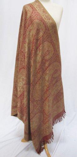 Antique Paisley Silk Merino Wool Shawl Scarf Wrap Throw Rose Pink Beige