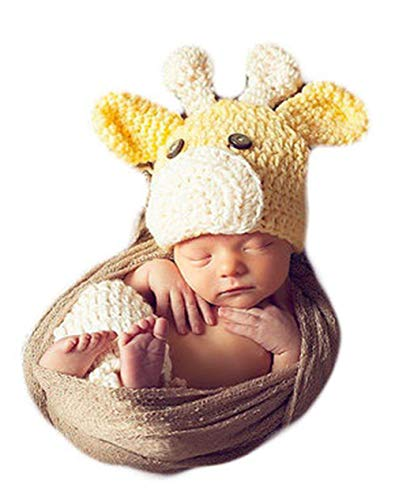 Infant Yellow Giraffe Hat Crochet Costume Outfits Photography Props for 0-3 Months Newborn Baby Boy Girl