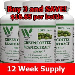 Amazon Com Green Coffee Bean Extract 800 Mg 360 Capsules 3 Pack 4543 Health Personal Care