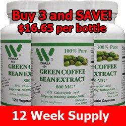 Green Coffee Bean Extract 800 Mg -360 Capsules 3 Pack – 4543