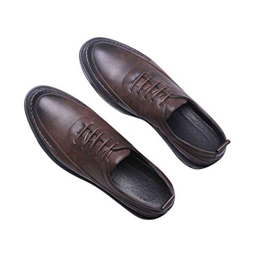 Oxfords Neuves pour D'Affaires Chaussures Hommes qianchuangyuan Bout Cuir Lacets à PU Marron Ville de Chaussures wPtxq7X