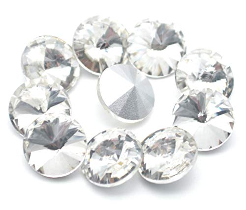 Catotrem Crystal Stones Round Fancy Glass Rhinestone Beads for DIY Dress Jewelry Making 100pcs(White-10mm)
