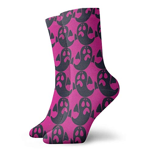 Halloween Purple Background Ghost Pattern Crew Socks- Men's Casual Socks - Colorful Funky Socks For Men - Fashion Patterned -