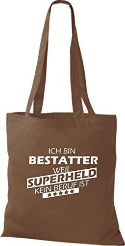Shirtstown Bolso de tela Estoy Enterrador, weil Superheld sin Trabajo ist marrón medio