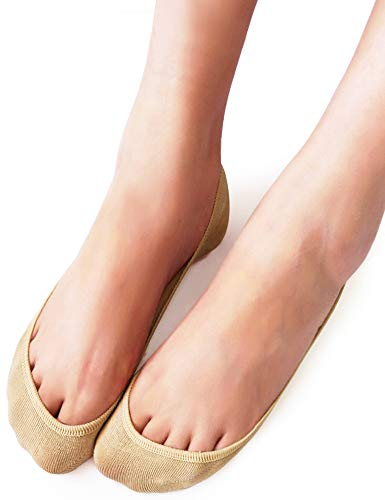 VERO MONTE 4 Pairs Womens TRULY No Show Socks (Nude, 7.5-9) - Invisible Socks.