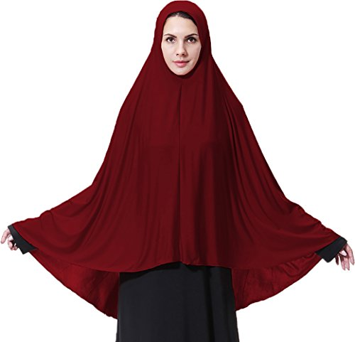 Ababalaya Women's Elegant Modest Muslim Islamic Ramadan Soft Lightweight Jersey Hijab Long Scarf,Burgundy,L by Ababalaya
