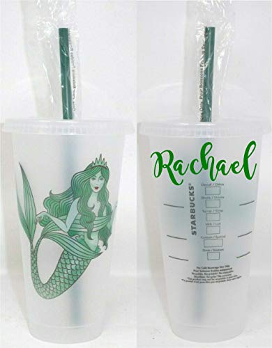 Personalized Starbucks Cup Mermaid Authentic Starbucks Cold Cup - Frosted Venti Iced 24 oz Starbucks Cup. Personalized with your name. Gift