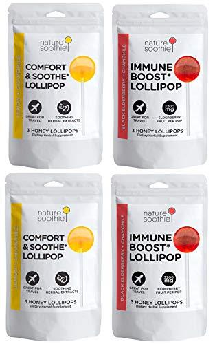 nature soothie Honey Lollipop Winter Care Pack - Throat Comfort & Immunity Support - Elderberry & Chamomile Suckers- Comfort & Immune Varieties - 12 Lollipops- 3 Count Packs (2x2 Packs)